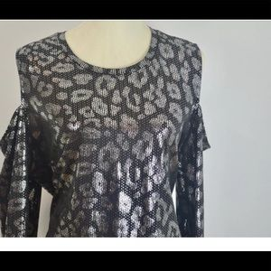 Michael Kors 2XL Leopard Glitter Cold Shoulder Top